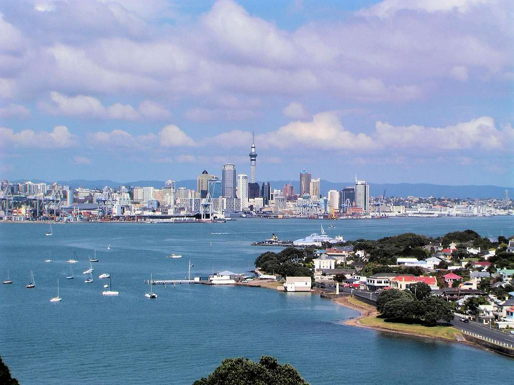 Blick auf Auckland-City vom North Head (Devonport)