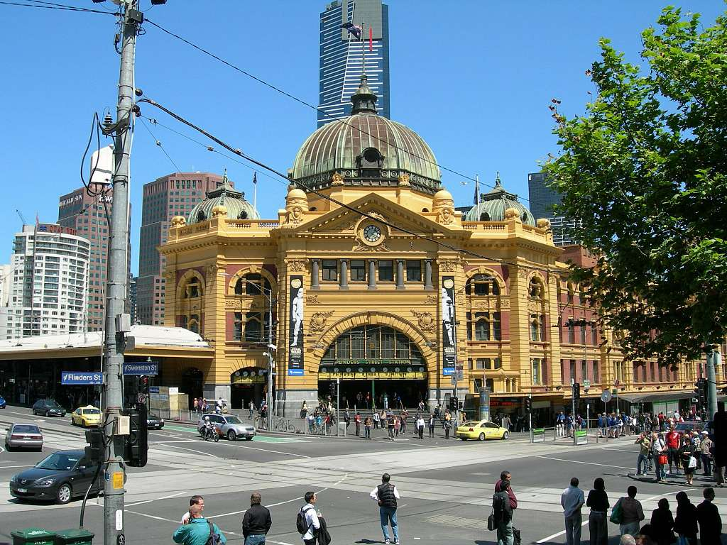 Melbourne - Flinders Street Station und Eureka Tower