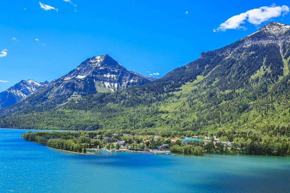 Azurblaue Färbung: Waterton Lake