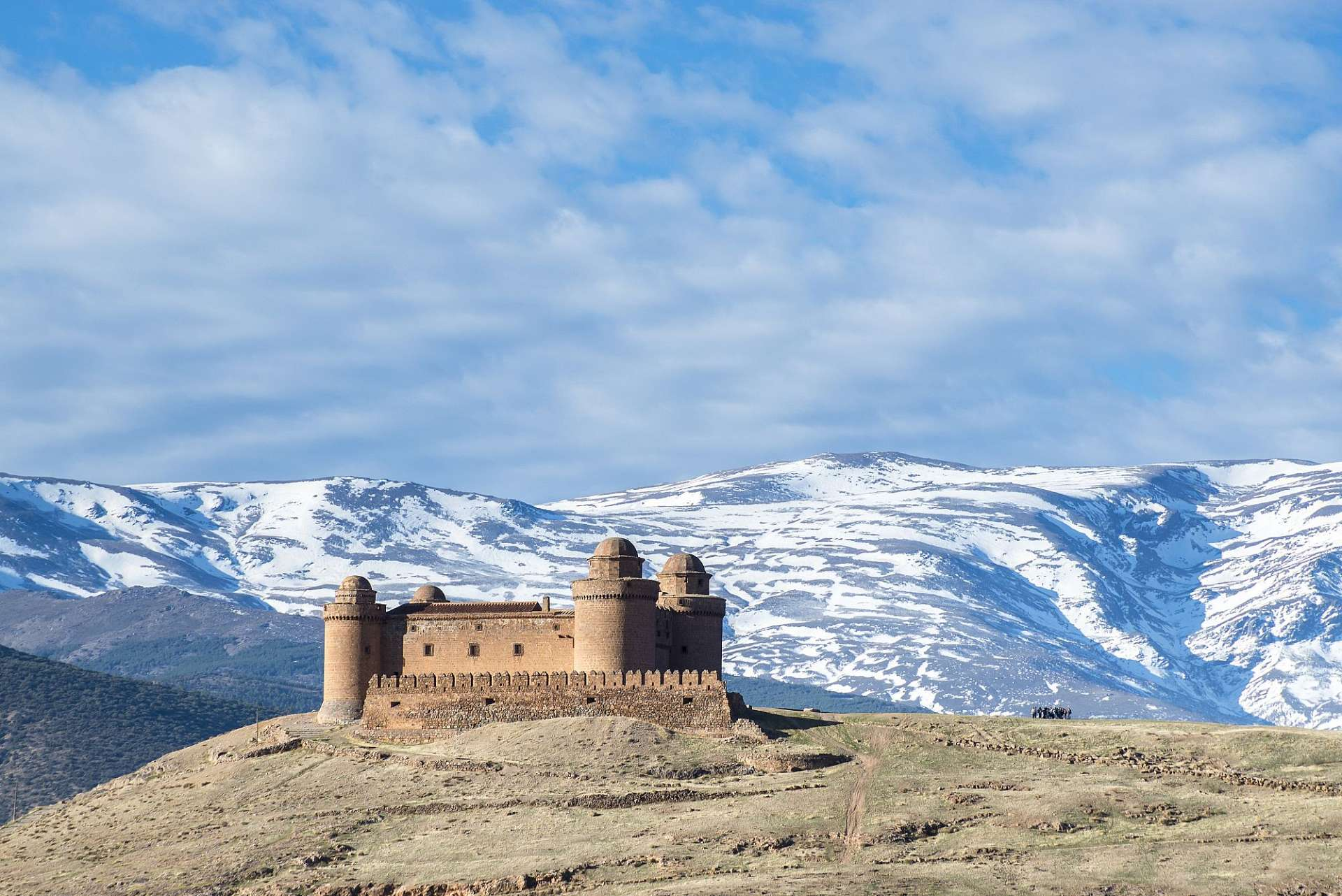 Covered in snow: Sierra Nevada and Castillo de la Calahorra