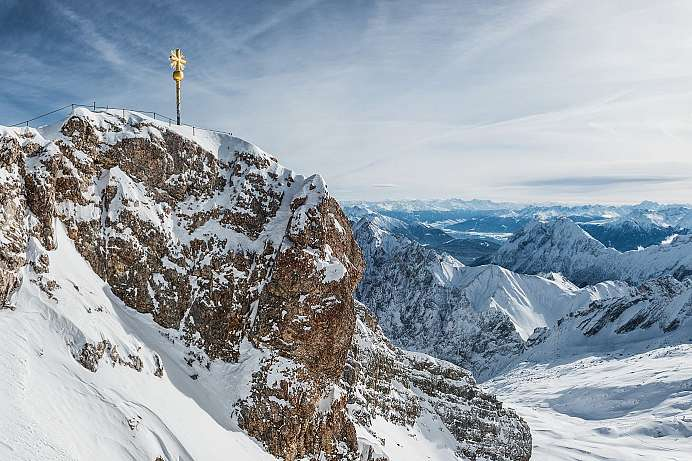 Germany's highest mountain: Zugspitze with Golden Cross