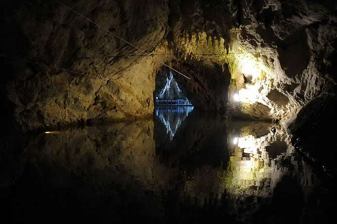 Accessible only by boat: Pertosa Caves