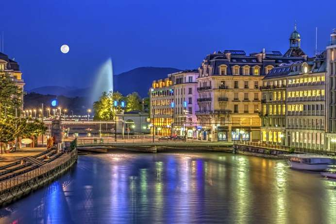 On the banks of the Rhone: Old Town of Geneva