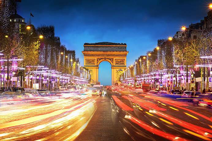 Paris at sunset: Arch of Triumph and Champs Elysees