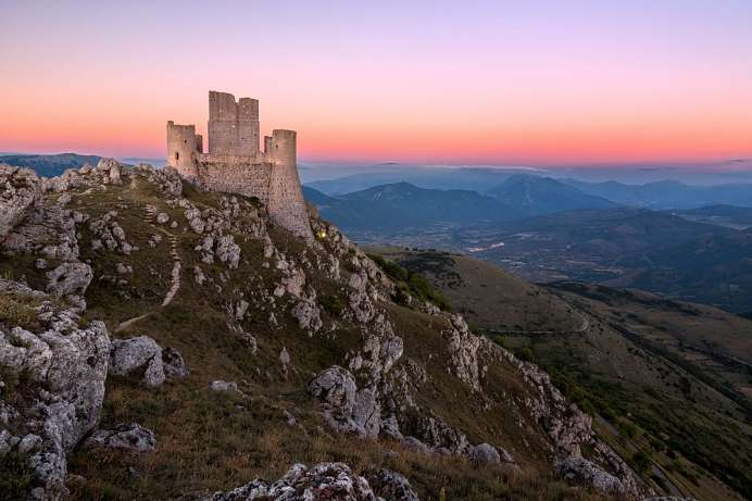 Surreal view of a primeval landscape: Rocca Calascio