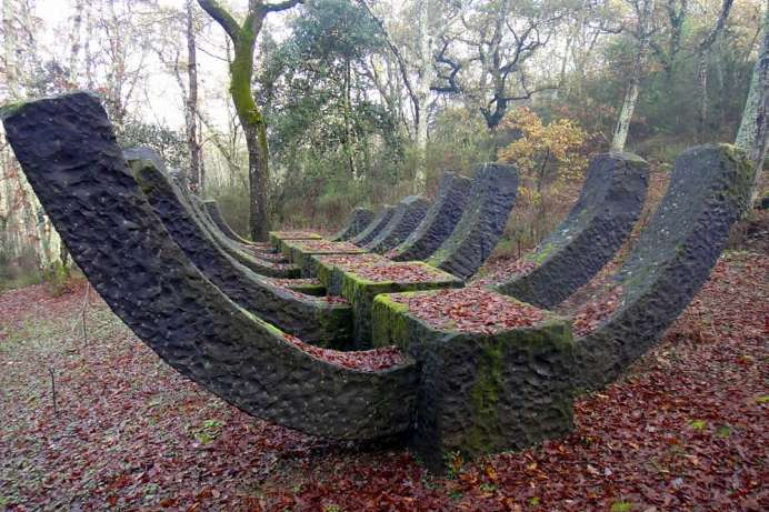 Artwork in an oak forest: Chianti sculpture park