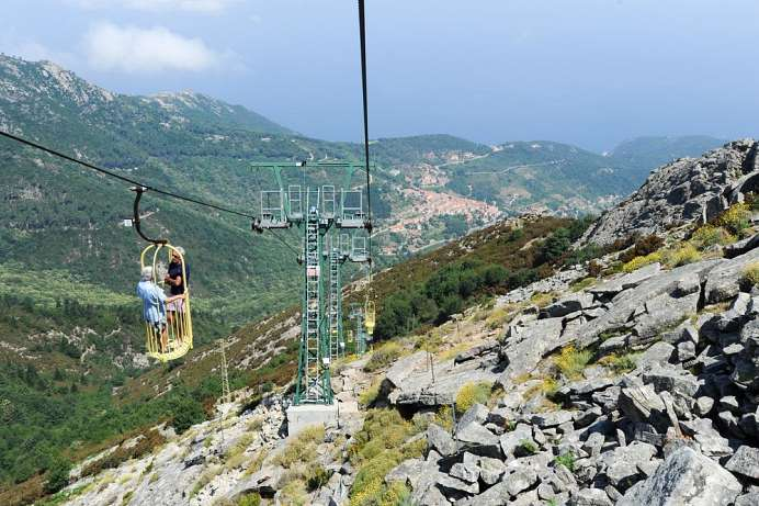 Taking the Cabinovia to Elba's highest peak: Monte Capanne
