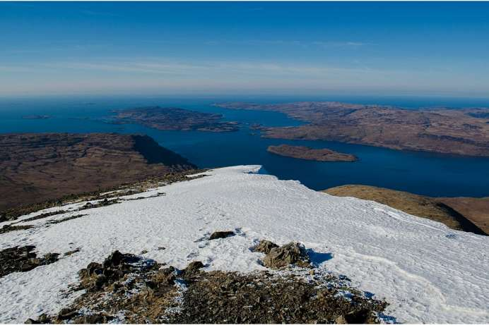 The vast ocean visible beyond Ulva: View from Ben More