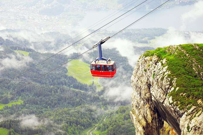 Up the mountain by cable car: Pilatus
