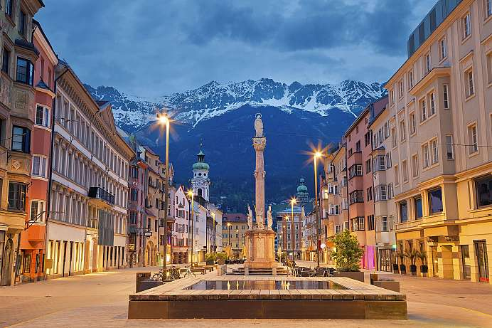 Innsbruck with the Annasäule and the Karwendel Mountains