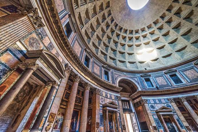 Archetype of all domed buildings: Pantheon