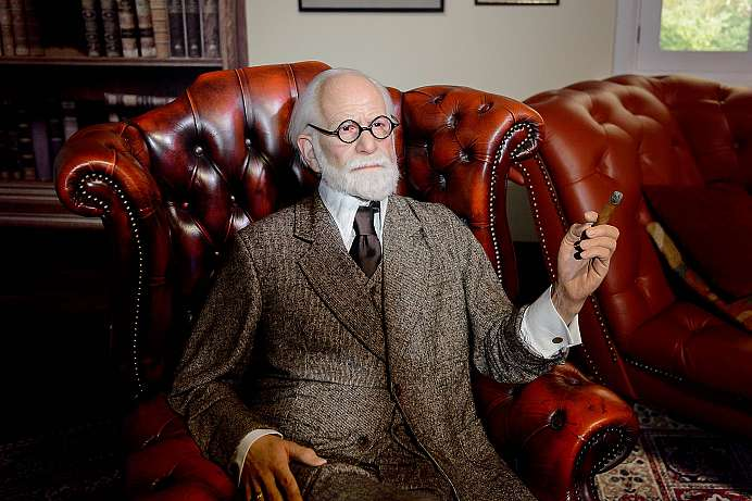 Freud in his study: A reenactment of Madam Tussaud