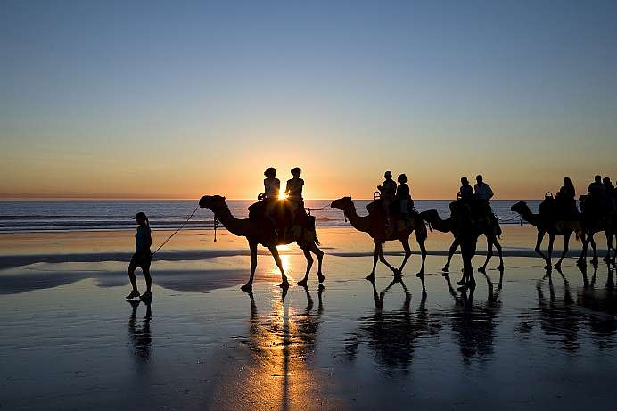 Broome: Kamelkarawane am Cable Beach