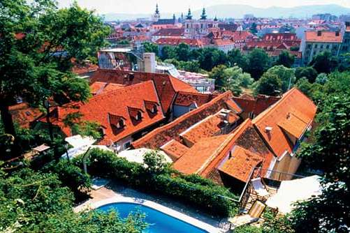 View of Graz from the terraced garden and swimming pool