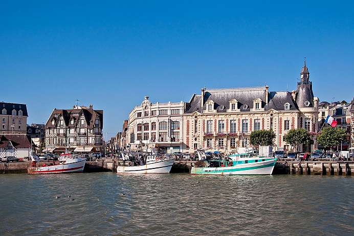 Old harbor and boardwalk: Deauville