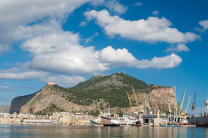 View from the harbor of Palermo: Monte Pellegrino