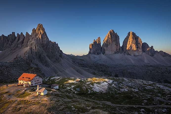Symbol of the Dolomites: Three peaks of Lavaredo and lodge
