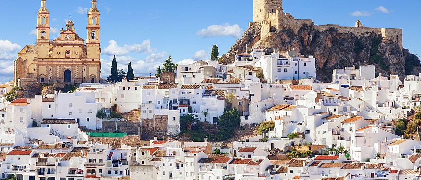 White village: Olvera at the foot of the Sierra Grazalema