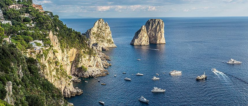 Plants, cliffs and blue waters: Capri